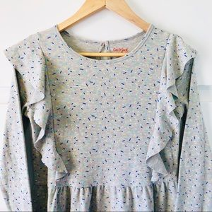 NWT Ruffle Sweatshirt Dress Heather Gray Sprinkles